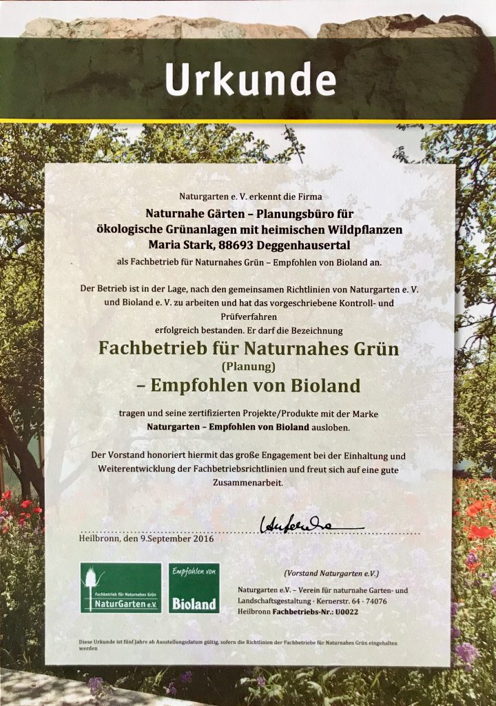 Naturnahe Gärten – Naturgartenplanerin Maria Stark, Firma Naturnahe ...